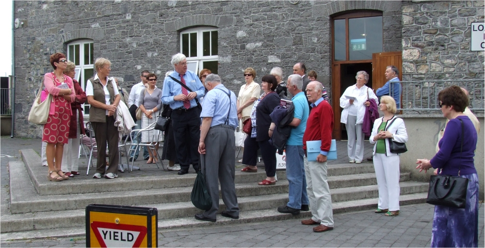 Local historian Paddy Behan leads one group on part of the Naas Heritage Trail - PHOTO. Pat Devlin